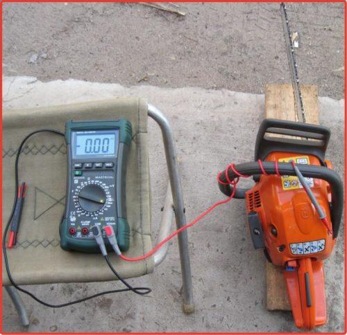 Измерение оборотов на бензопиле мультиметром