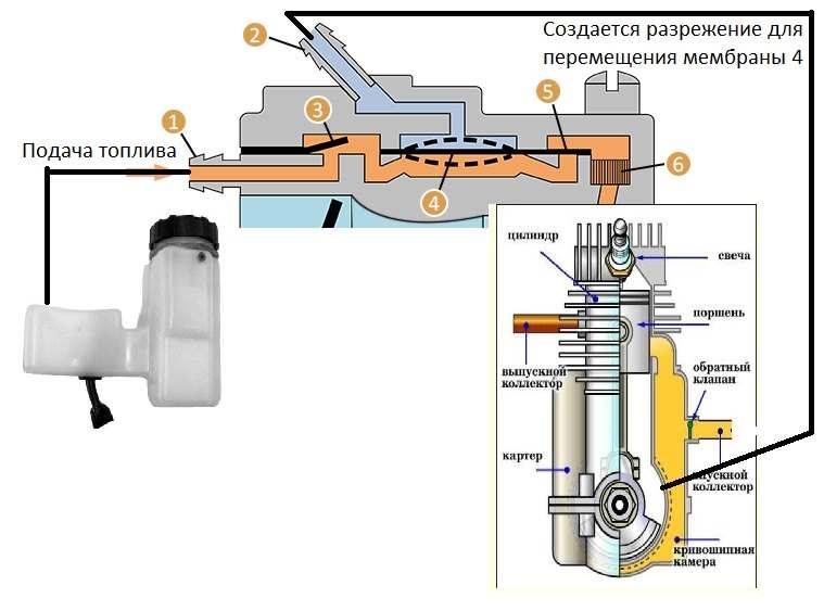 Принцип подачи топлива в карбюратор бензопилы