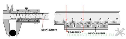 Измерение штангенциркулем с нониусом