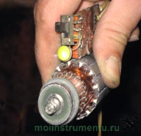 Проверка межвиткового замыкания на роторе перфоратора