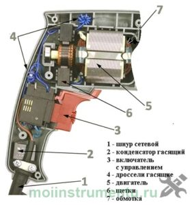 Устройство электрической части перфоратора