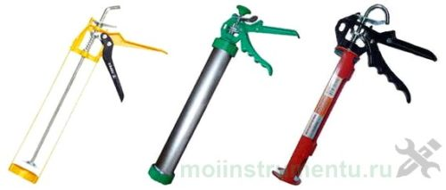 Виды пистолетов для герметика и жидкие гвозди