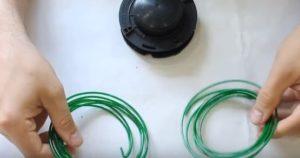 Как заправить леску в триммер с отрезков