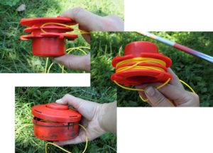 Как зарядить леску в разборную катушку в триммер