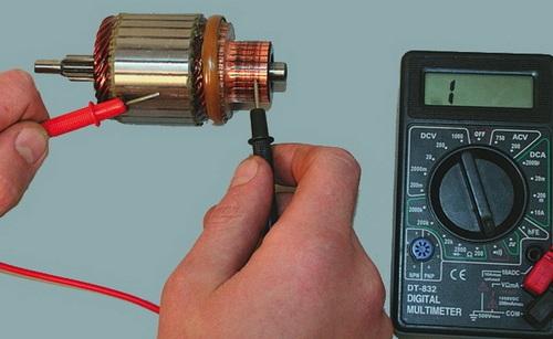 Проверка ротора мультиметром на пробой изоляции