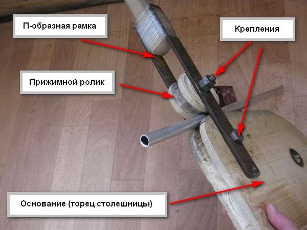 Трубогиб с прижимным роликом