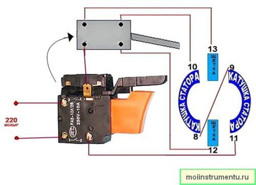 Как подключить кнопку дрели схема