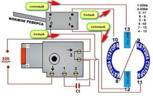 Схема подключения кнопки дрели с регулятором оборотов и реверсом