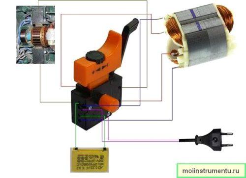 Схема подключения кнопки дрели с визуальным обозначением