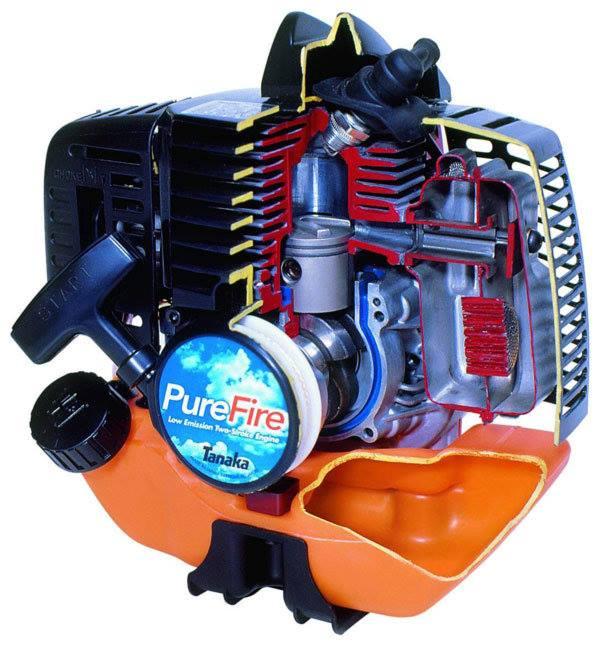 Двигатель бензокосы в разрезе