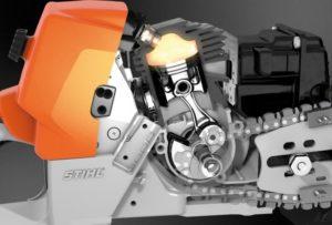 Работа двухтактного двигателя бензопилы