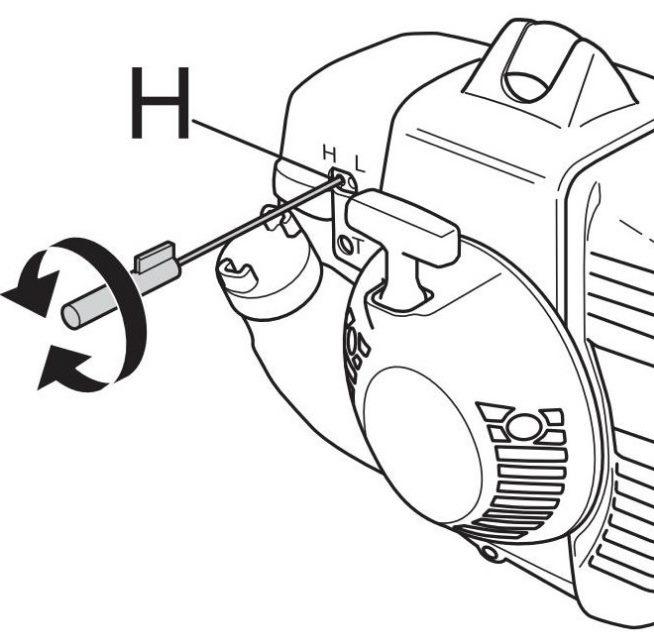 Регулировка максимальных оборотов бензопилы