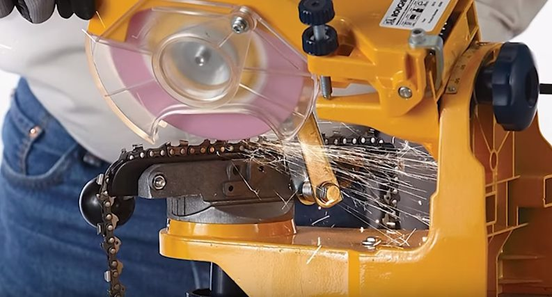 Заточка зубьев цепи на станке