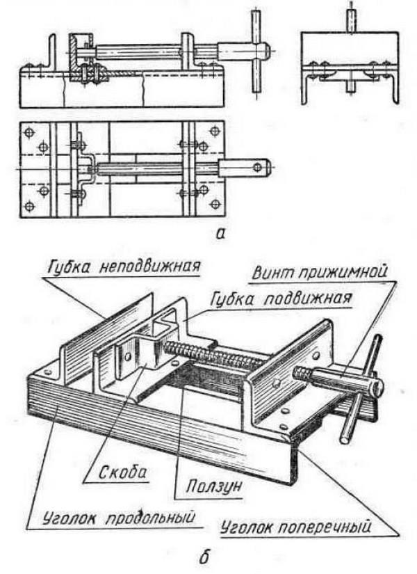 Схема изготовления слесарных тисков своими руками