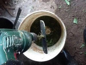 Агрегат для перемалывания травы и листьев из дрели
