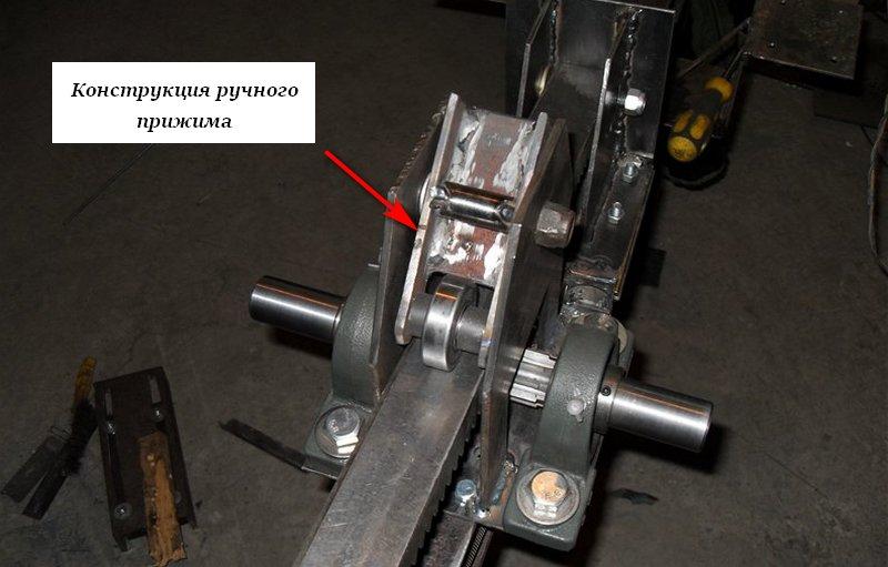 Механизм прижима рейки на реечном дровоколе