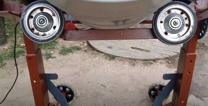 Опорные ролики самодельной бетономешалки